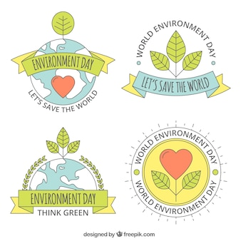 Mundo, meio ambiente, dia, lable, coleção, corações