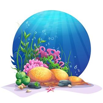 Mundo oceânico. flora marinha no fundo arenoso do oceano.