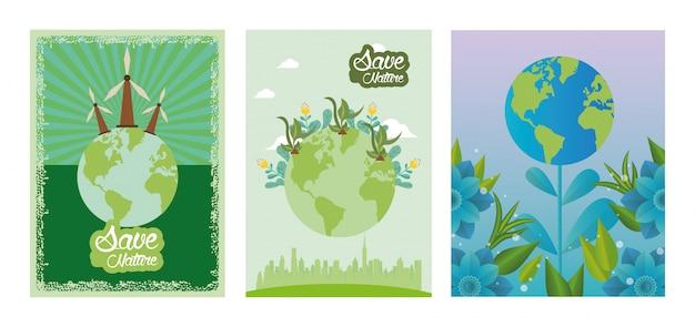 Mundo planeta terra com turbinas eólicas vector design ilustração