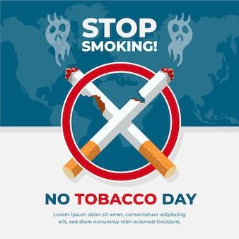 Mundo plano sem ilustração do dia do tabaco