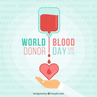 Mundo, sangue, doador, dia, coração, ilustração