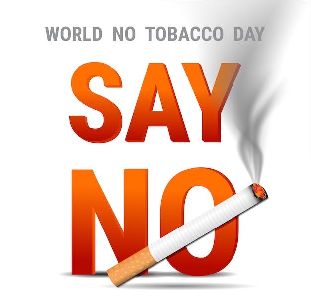 Mundo sem dia do tabaco. não fumar letras