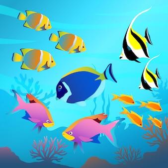 Mundo subaquático bonito, vista do mar, peixes e fundo do mar