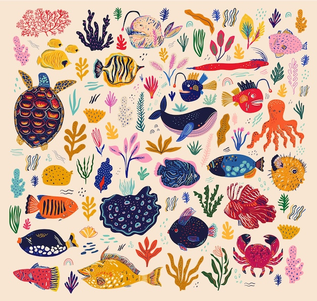 Mundo subaquático. coleção de vetores com peixes e algas marinhas no estilo cartoon