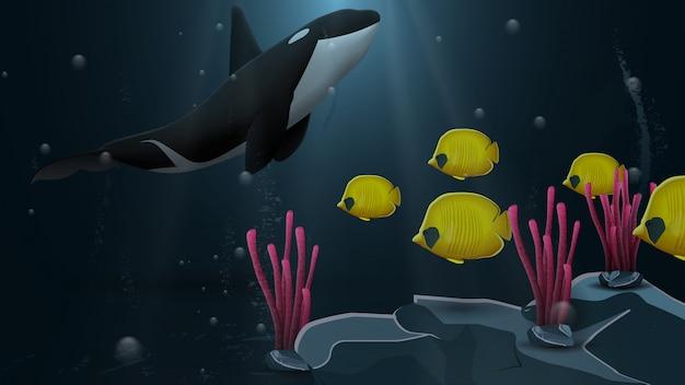 Mundo subaquático com baleia assassina e peixe amarelo