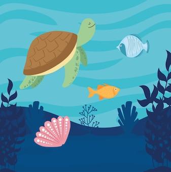 Mundo subaquático com ilustração de cena de tartaruga e peixe