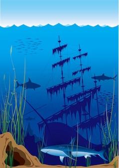 Mundo subaquático com ilustração de um velho navio naufragado