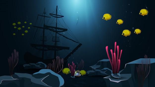 Mundo subaquático, ilustração vetorial com navio afundado