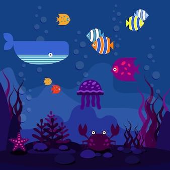 Mundo subaquático. oceano ou mar, peixes no aquário e baleias, ilustração vetorial