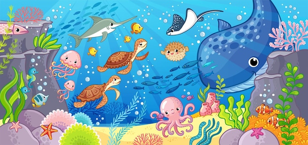 Mundo submarino animais bonitos dos desenhos animados subaquáticos ilustração vetorial sobre um tema marítimo