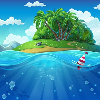 Mundo submarino com ilha