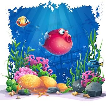 Mundo submarino com ilustração de peixes