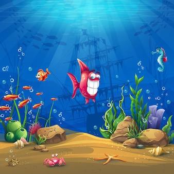 Mundo submarino com peixes. paisagem da vida marinha - o oceano e o mundo subaquático com diferentes habitantes.