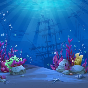 Mundo submarino em tema azul. paisagem da vida marinha - o oceano e o mundo subaquático com diferentes habitantes.