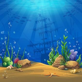 Mundo submarino. paisagem da vida marinha - o oceano e o mundo subaquático com diferentes habitantes.