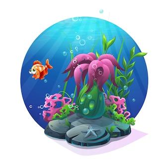 Mundo submarino. vida marinha no fundo arenoso do oceano.