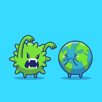 Mundo susto corona virus icon ilustração. personagem de desenho animado de mascote de corona. conceito de ícone do mundo isolado