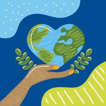 Mundo terrestre em forma de coração