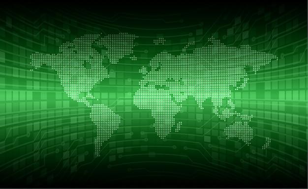 Mundo verde cyber circuito futuro conceito de tecnologia fundo
