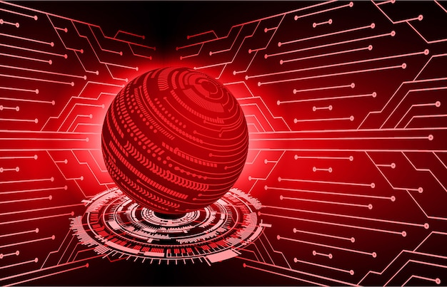 Mundo vermelho cyber circuito futuro tecnologia conceito fundo