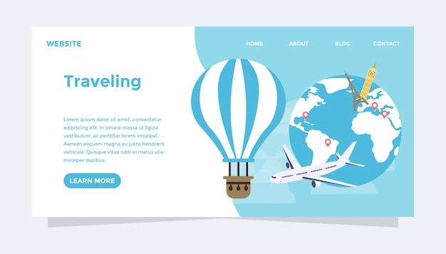 Mundo viajando ilustração em vetor plana moderna conceito