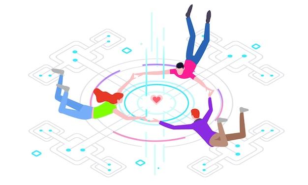 Mundo virtual da ilustração de tecnologia Vetor Premium