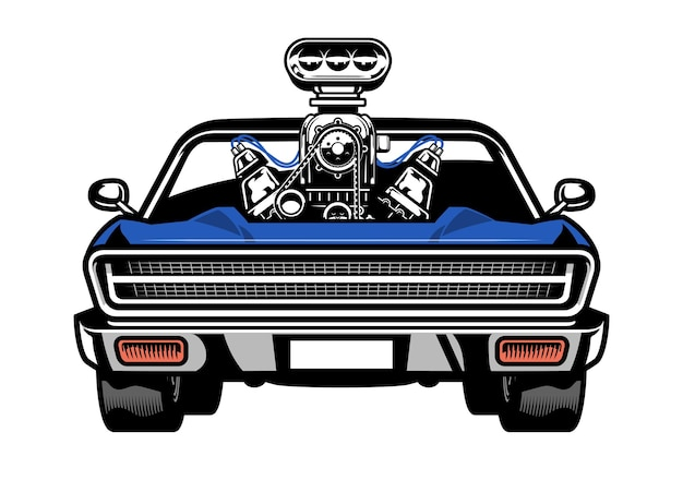 Muscle car americano com grande motor no capô