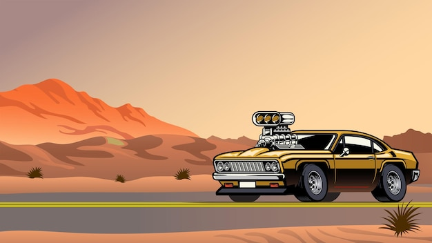 Muscle car com grande motor na estrada do deserto