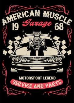 Muscle car vintage com motor supercarregador grande