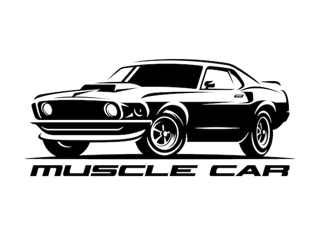 Músculo carro retrô logotipo, emblema.