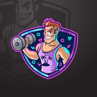 Músculo homem levantando peso ginásio logotipo