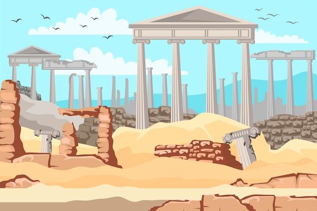 Museu ao ar livre da grécia antiga, colunas de mármore antigas, ruínas da cidade grega ou arquitetura histórica do império romano