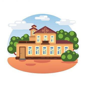 Museu da casa. antiga casa de família. projeto de ilustração vetorial plana.