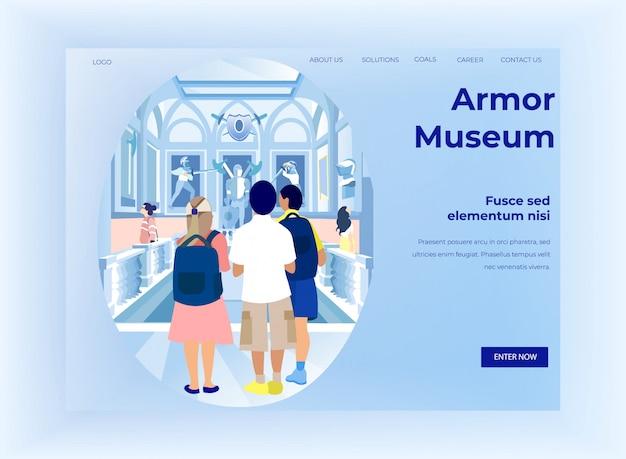 Museu de armadura de pessoas visitando
