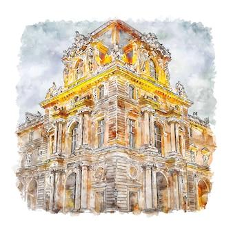 Museu do louvre, paris, frança, esboço em aquarela, ilustrações desenhadas à mão