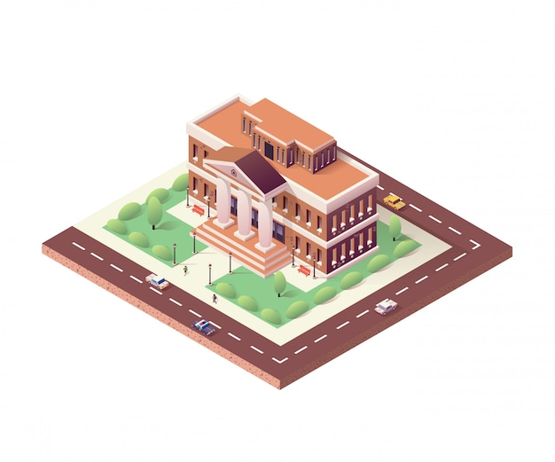 Museu, ilustração isométrica do edifício