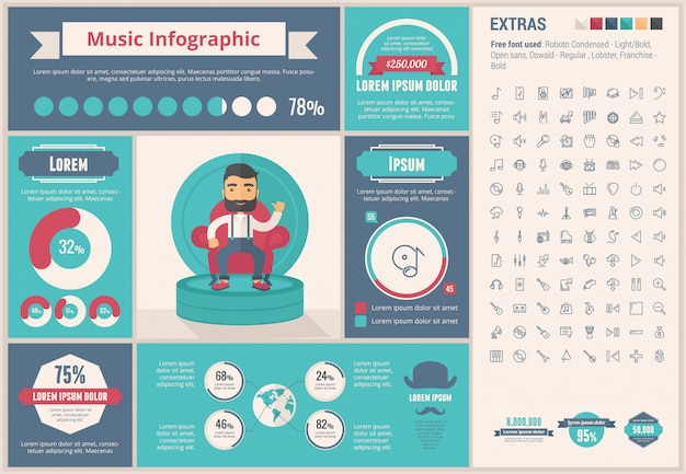 Music flat design template infográfico