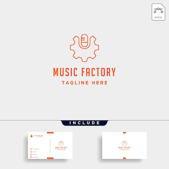 Music gear logo design studio fone de ouvido microfone cassete vetor ícone monoline