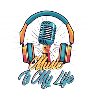 Music is my life vetor para design de camisa de t