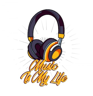 Music is my life vetor para design de camisa de t