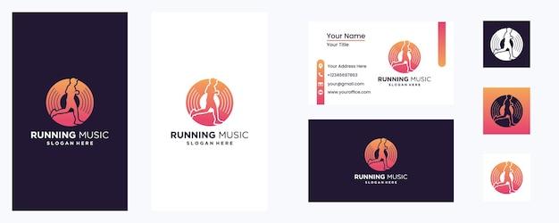 Music play running logo template design emblem design concept ícone de símbolo criativo