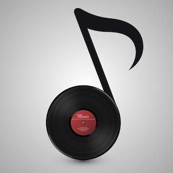 Música abstrata. disco de vinil em forma de notas. ilustração vetorial