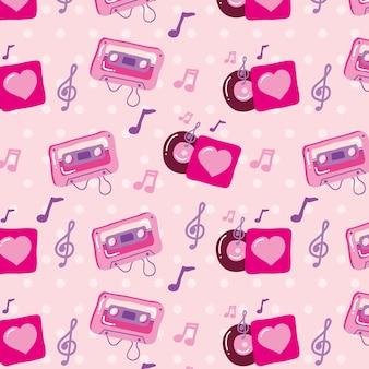 Música amo padrão perfeito com fita cassete e notas musicais.