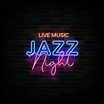 Música ao vivo. jazz night neon.