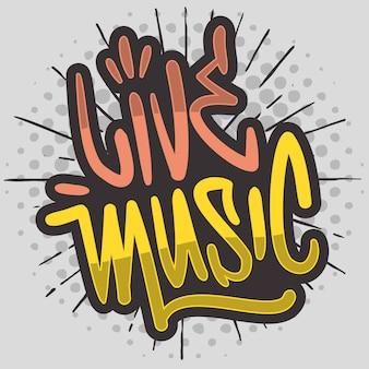 Música ao vivo pincel desenhado à mão letras caligrafia graffiti tipo de etiqueta de estilo design de logotipo