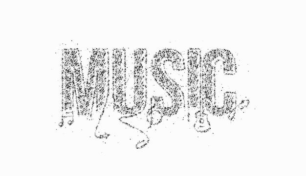 Música caligráfica linha arte particle texto cartaz ilustração vetorial design.