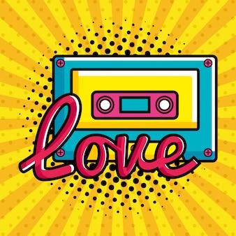 Música cassete com amor letras ícone de estilo pop art