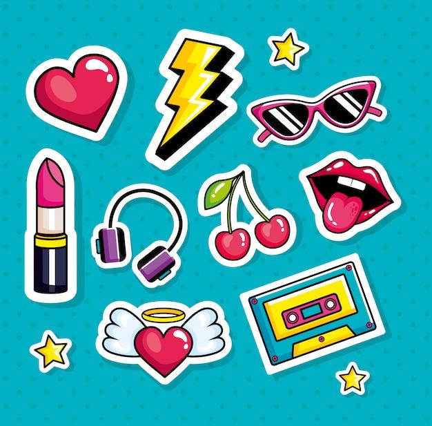 Música cassete com conjunto de ícones estilo pop art