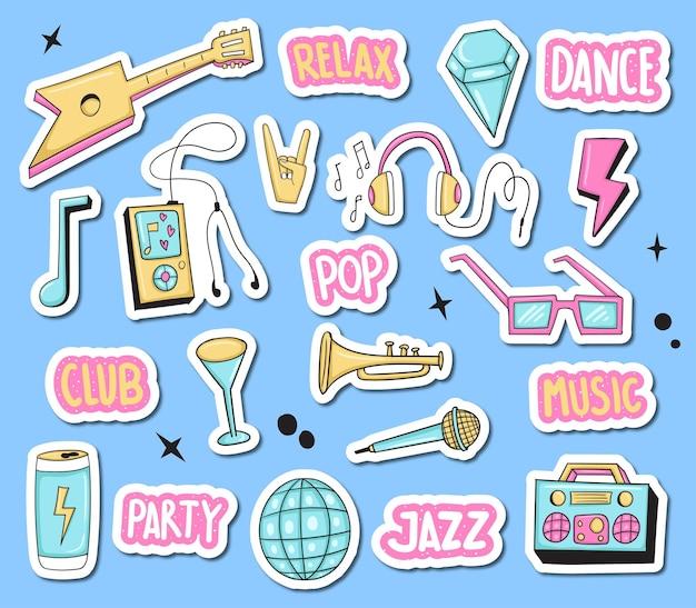Música colorida desenhada à mão e adesivos de festa