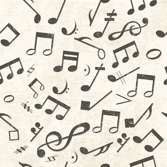 Música colorida sem costura padrão notas caoticamente colocadas e clave de sol